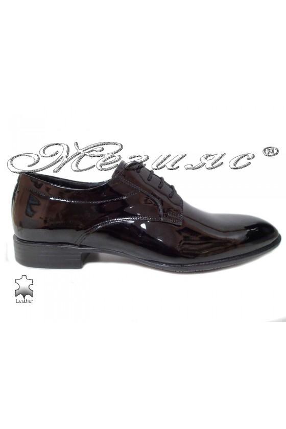 Men elegant shoes 18141 black leather