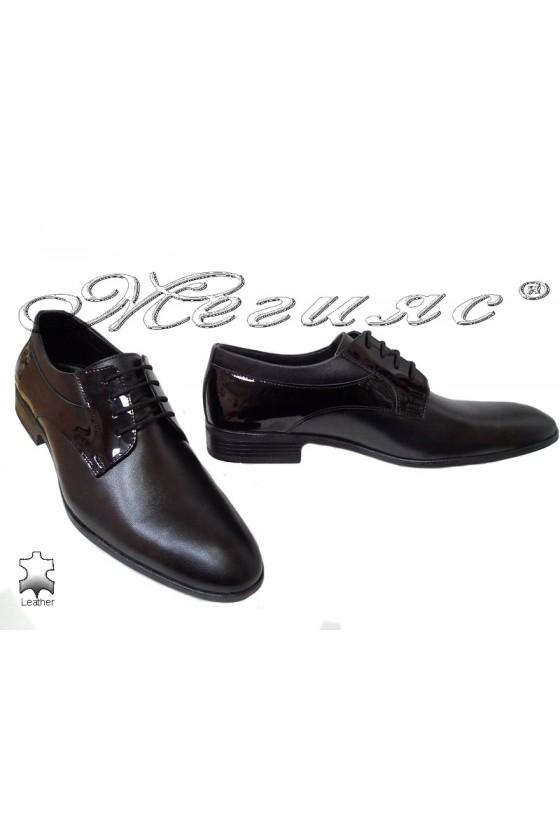 Мъжки обувки Фантазия 18021 черни естествена кожа с лак елегантни