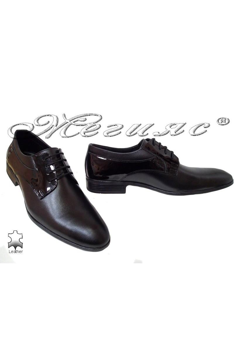 Men elegant shoes 18021 black leather