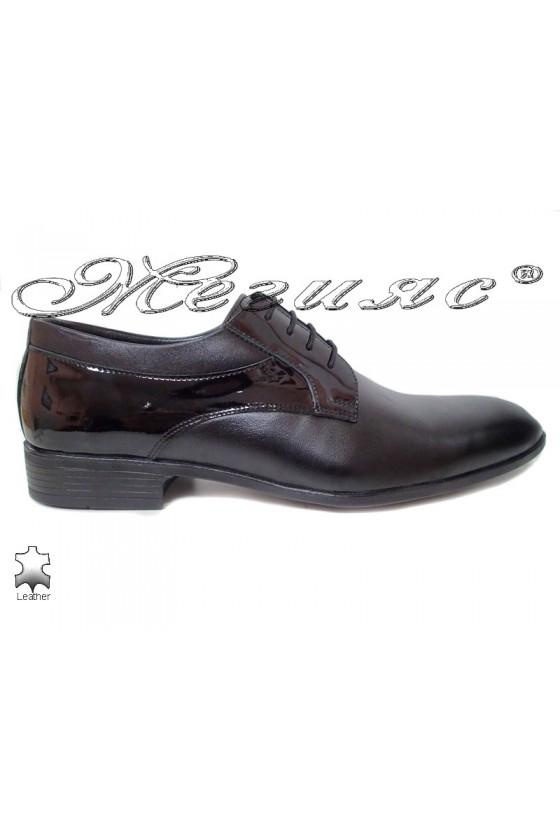 Мъжки обувки черни естествена кожа с лак елегантни Фантазия 18021