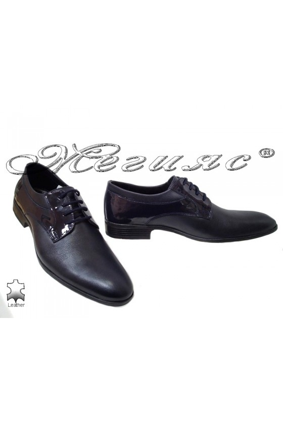 Men elegant shoes 18021 blue leather