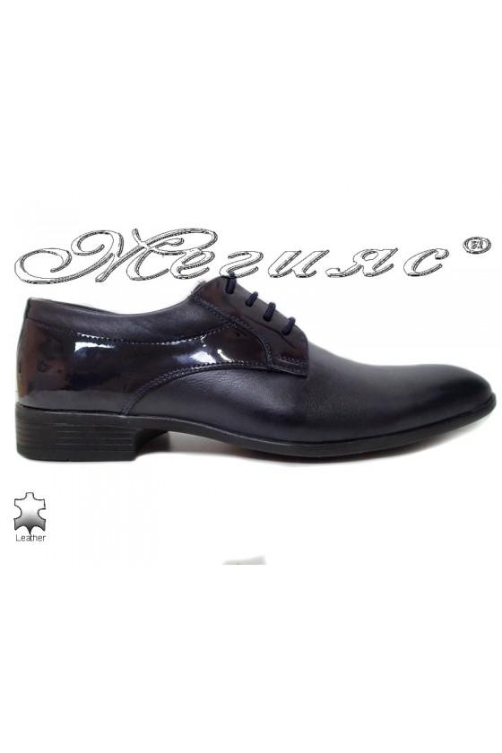 Мъжки обувки Фантазия 18021 сини естествена кожа с лак елегантни