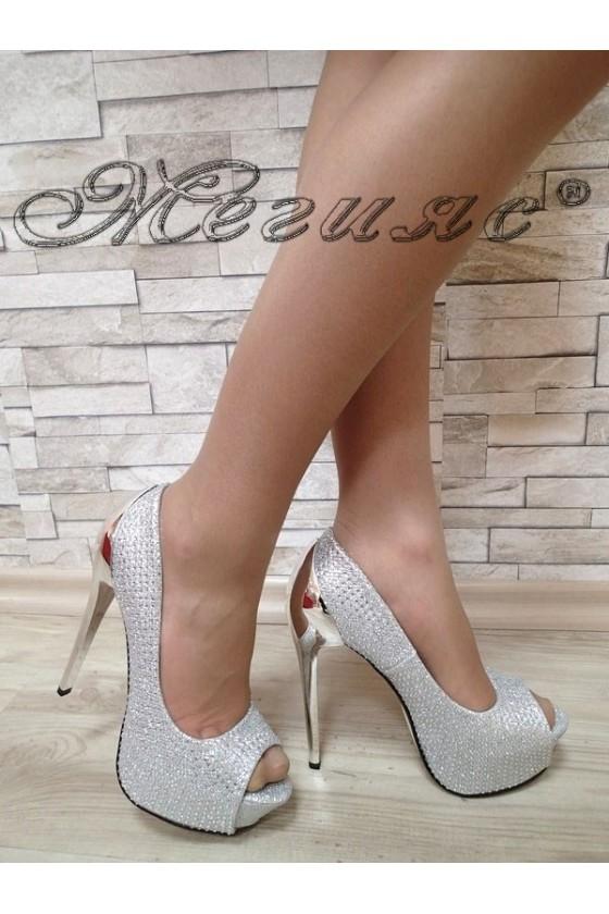 Дамски обувки сребристи с камъни елегантни на висок ток 20S16-103