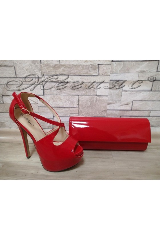 Lady sandals  JESS S1720-43 red patent with bag 373