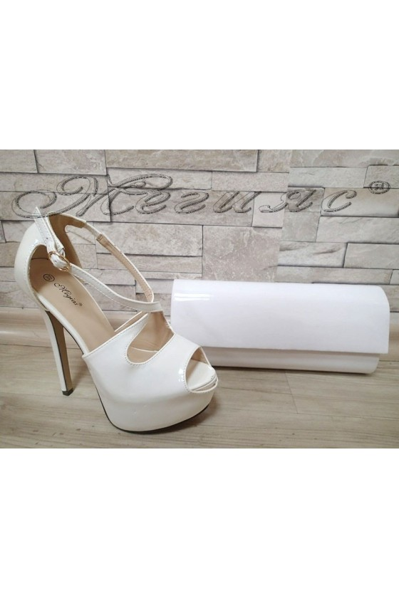 Lady sandals  JESS S1720-43 white patent with bag 373