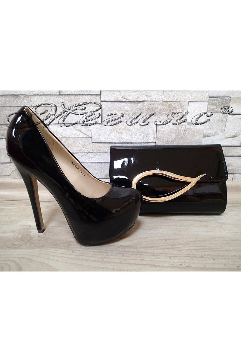 Lady shoes  JESS S1720-39 black patent with bag 373