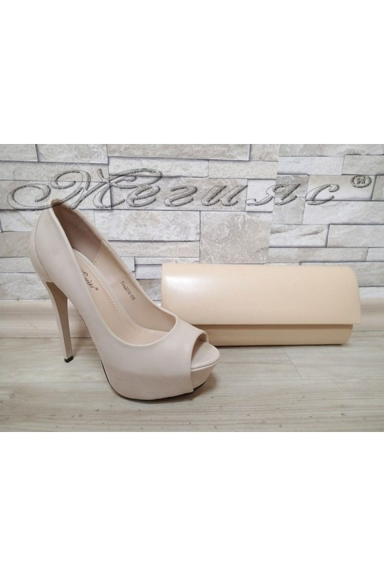 Lady shoes TINA 20S16-105 beige pu with bag 373