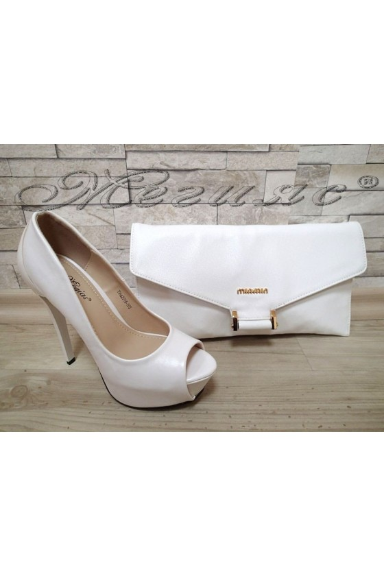 Lady shoes TINA 20S16-105 white pu with bag 136