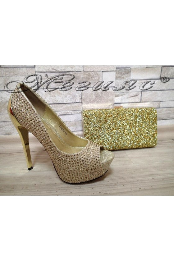 Lady shoes 20S16-103 gold with bag W065