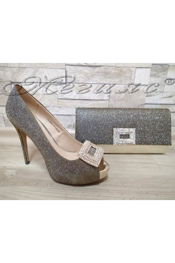 Lady shoes S1720-63 bronze with bag 63