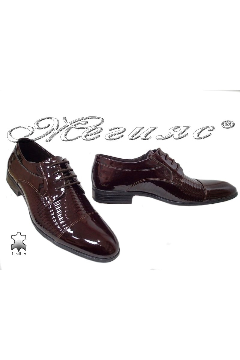 Men elegant shoes 18020-219 bordo leather