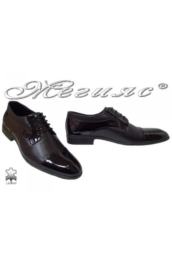 Men elegant shoes 18020 black leather