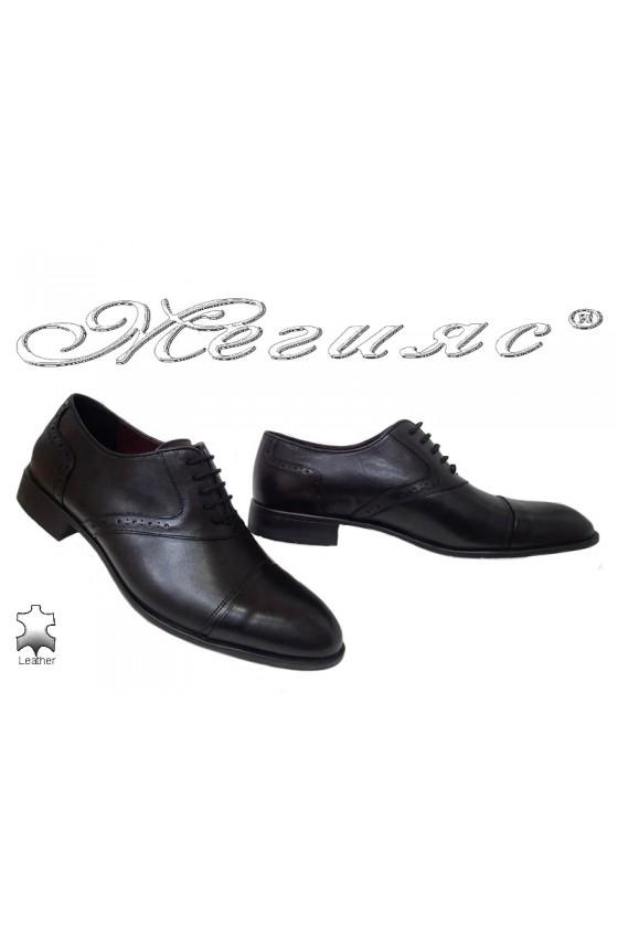 Мъжки елегантни обувки 1650 черни от естествена кожа