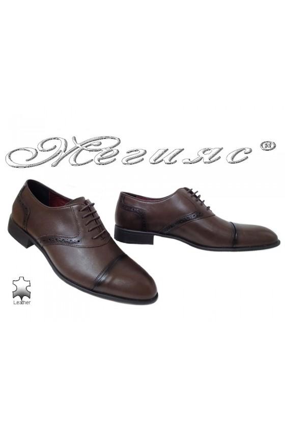 Мъжки елегантни обувки 1650 тъмно кафяви от естествена кожа
