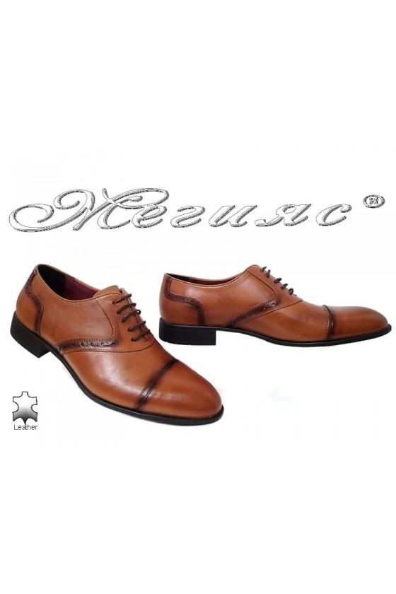 Мъжки елегантни обувки 1650 цвят таба естествена кожа