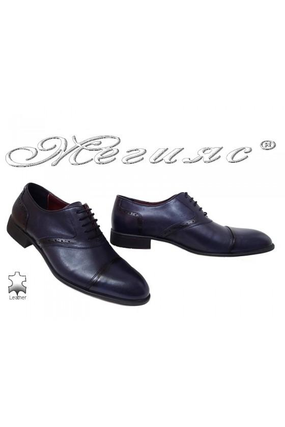 Мъжки елегантни обувки 1650 сини от естествена кожа