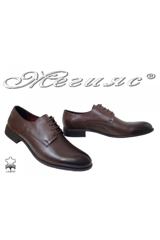 Мъжки елегантни обувки 1656 тъмно кафяви от естествена кожа