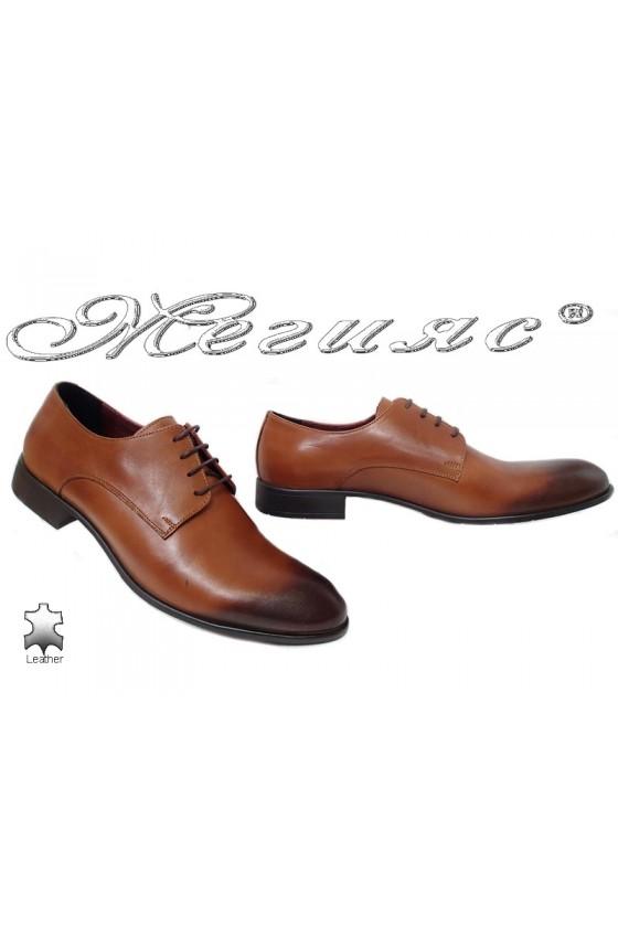 Мъжки елегантни обувки 1656 цвят таба от естествена кожа