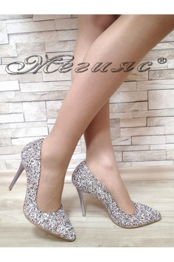 Women elegant shoes 5596 silver pu with high heel