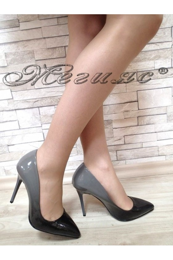 Women elegant  shoes 5596 black+grey  patent