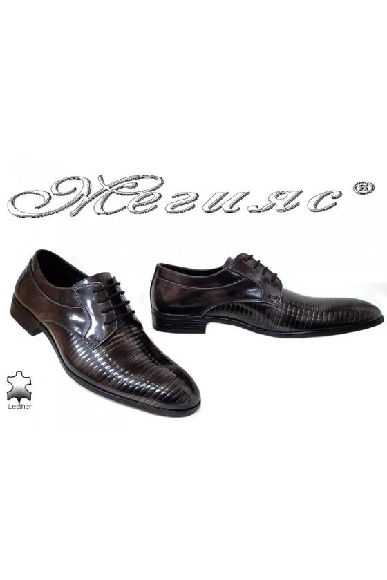 Мъжки обувки Фантазия 18021-219 сиви преливащи се с черно от естествена кожа