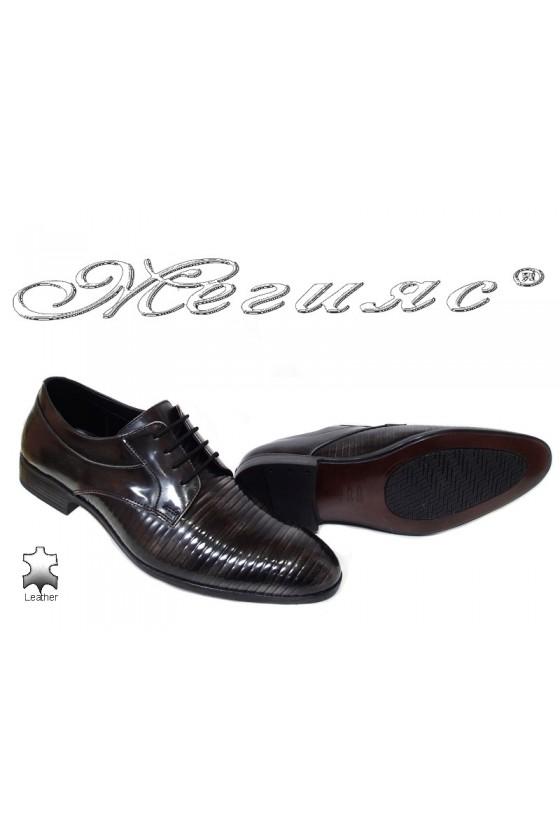Мъжки обувк сиви преливащи се с черно от естествена кожа  Фантазия 18021-219