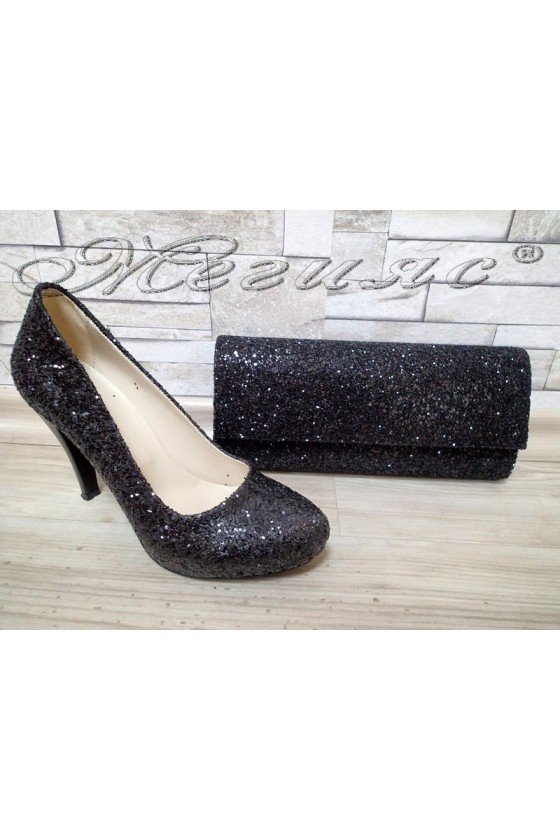 Lady shoes 15-К black with bag 373