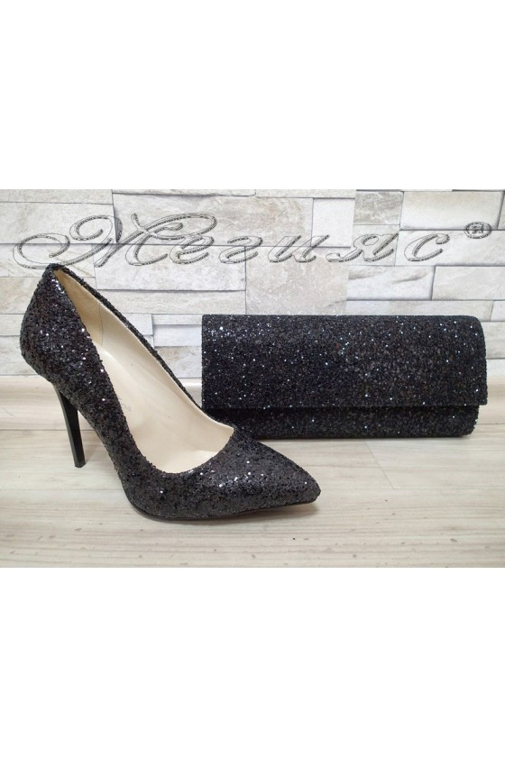 Lady shoes 5596 black with bag 373
