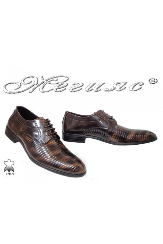Мъжки обувки Фантазия 18021-219 кафяви преливащи се с черно от естествена кожа