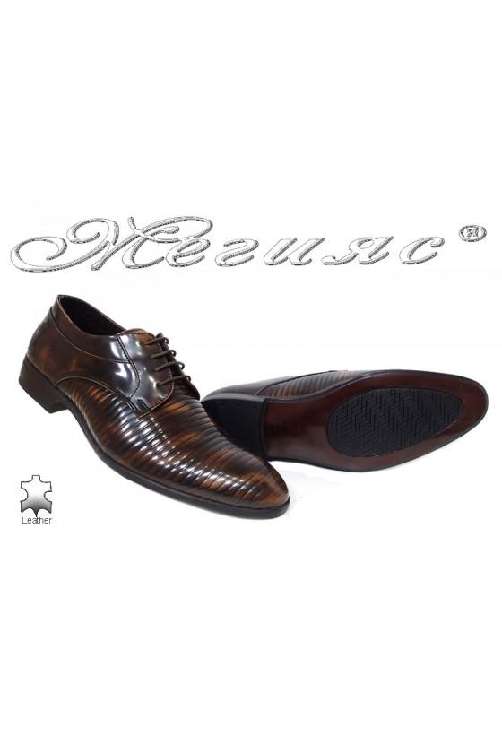 Мъжки обувки  кафяви преливащи се с черно от естествена кожа Фантазия 18021-219