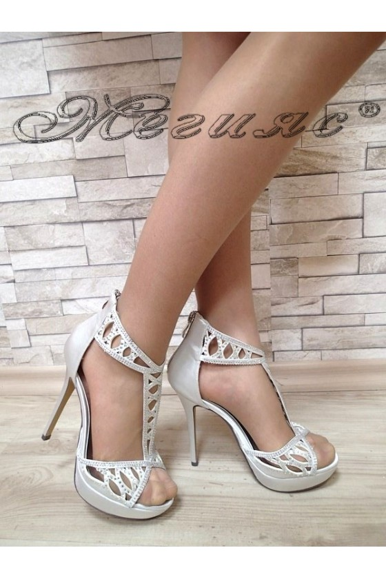 Дамски сандали  Jeniffer S1720-59 сребристи елегантни с висок ток