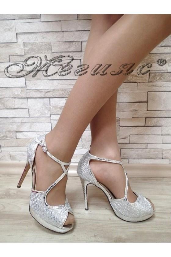 Дамски сандали Jeniffer S1720-70 сребристи елегантни с висок ток