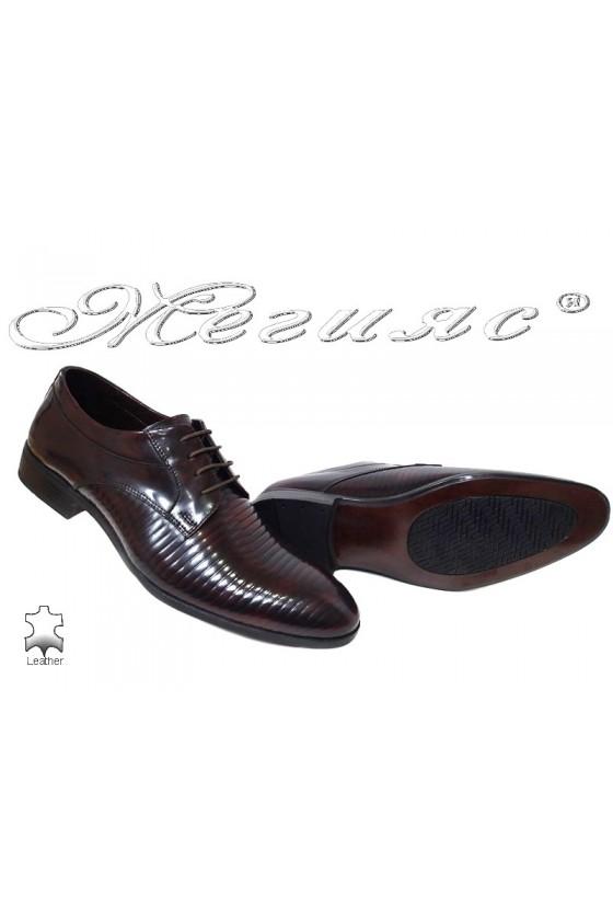 Мъжки обувки бордо преливащи се с черно от естествена кожа Фантазия 18021-219
