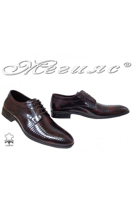 Men shoes 18021-219 bordo leather