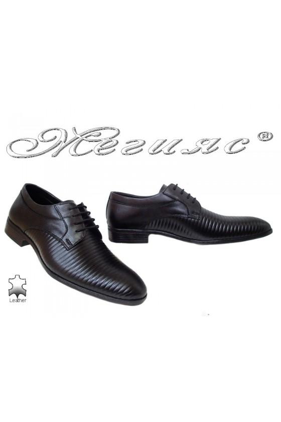 Мъжки обувки Фантазия 18021-219 черни ленти естествена кожа