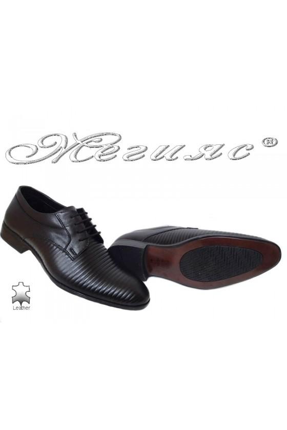 Мъжки обувки черни ленти естествена кожа Фантазия 18021-219