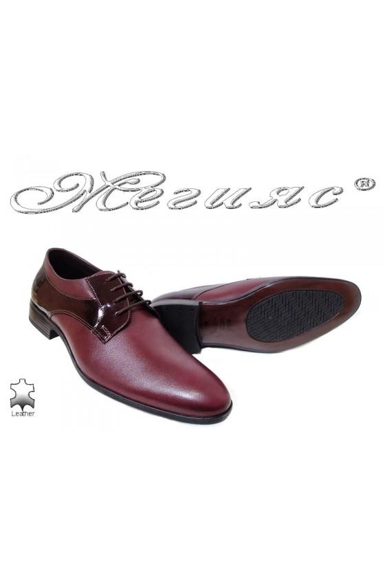 Мъжки обувки бордо естествена кожа с лак 18021
