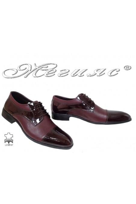 Мъжки обувки Фантазия 18020 бордо естествена кожа с лак