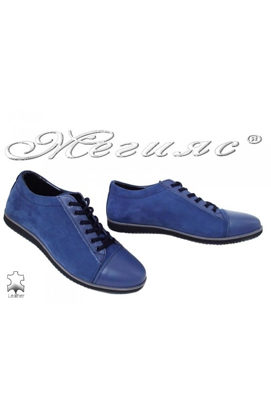 Мъжки обувки Фантазия 18201 сини набук с кожа  спортни от естествена кожа