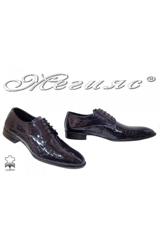 Мъжки обувки Фантазия 18141-216 сини кроко естествен лак