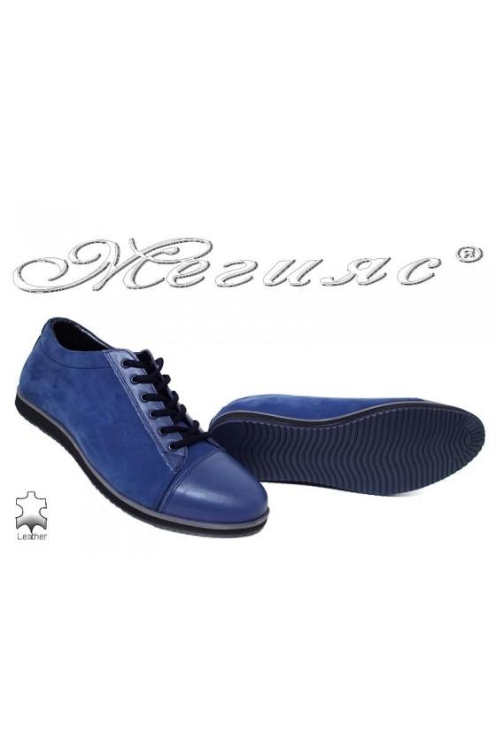 Мъжки обувки  естествен набук с кожа сини Фантазия 18201