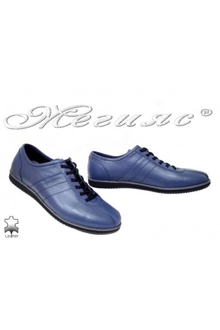 Мъжки обувки Фантазия 18202 сини спортни от естествена кожа