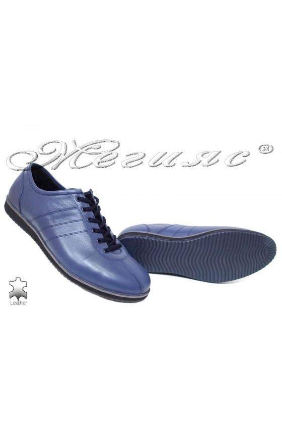 Мъжки обувки спортни от естествена кожа сини Фантазия 18202