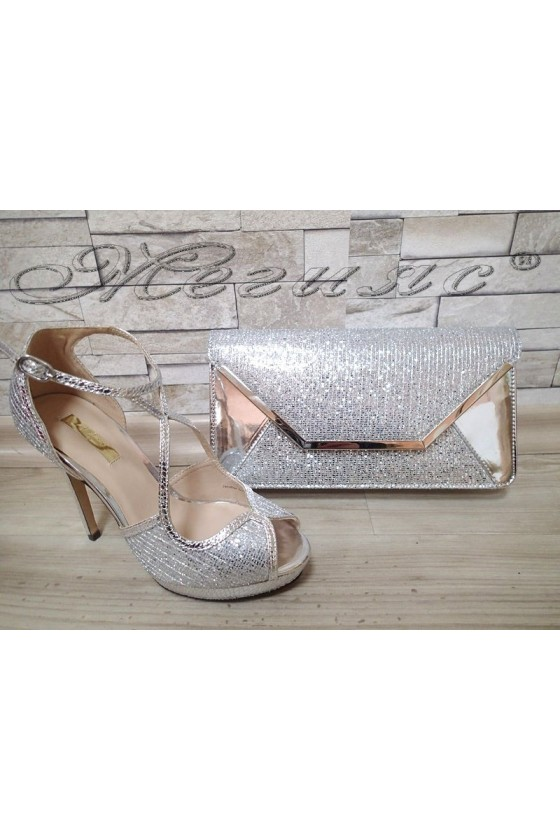 Lady sandals Jeniffer 1720-70 silver with bag 70
