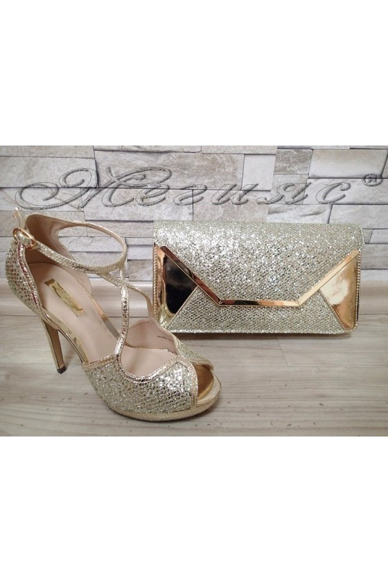 Lady sandals Jeniffer 1720-70 gold with bag 70
