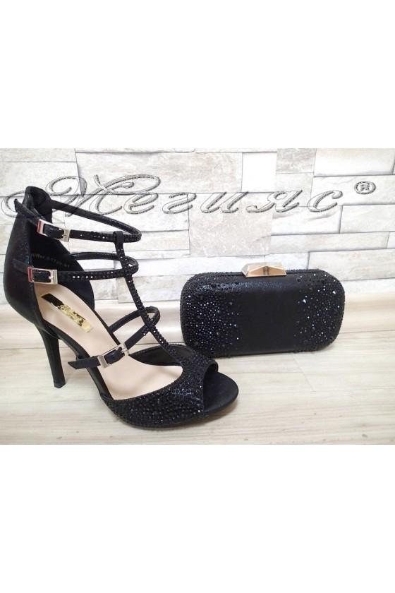 Lady sandals Jeniffer 1720-51 black with bag 51