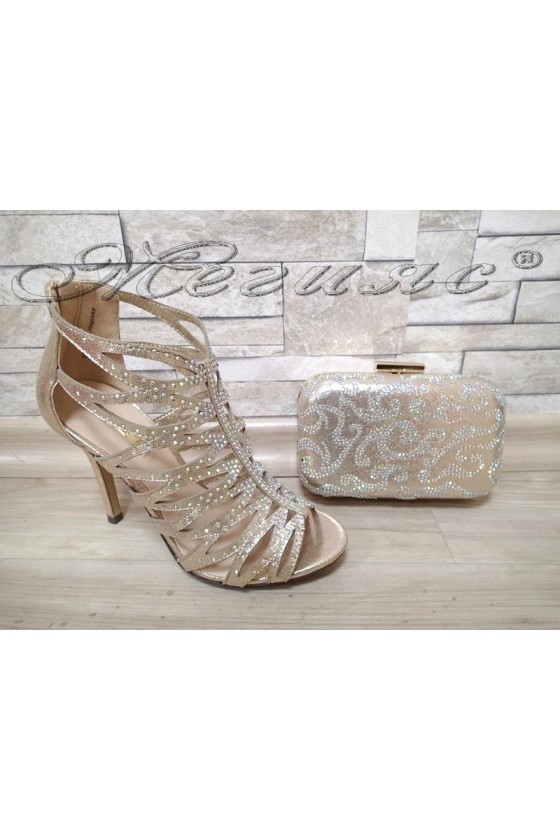 Lady sandals Jeniffer 1720-50 gold with bag 50
