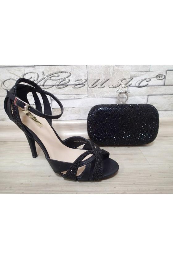 Lady sandals Jeniffer 1720-55 black with bag 55