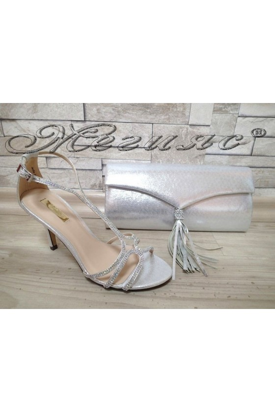 Lady sandals Jeniffer 1720-71 silver with bag 71