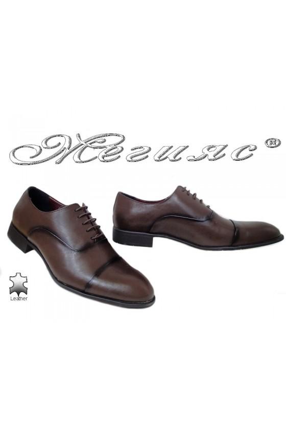 Мъжки елегантни обувки 1654 тъмно кафяви от естествена кожа